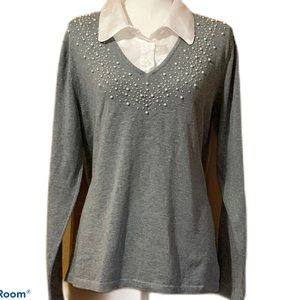 Quicker Factory Sweater With Pearl Embellishments